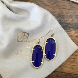 Dark Blue Stone Kendra Scott Earrings Gold